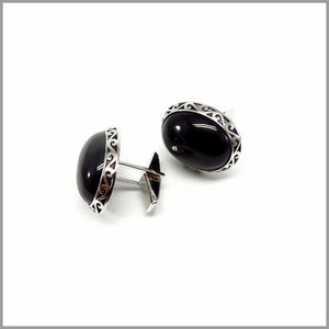 FM21.17 Tribal Black Onyx Silver Cufflinks