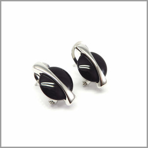 FM21.18 Modern Black Onyx Silver Earrings