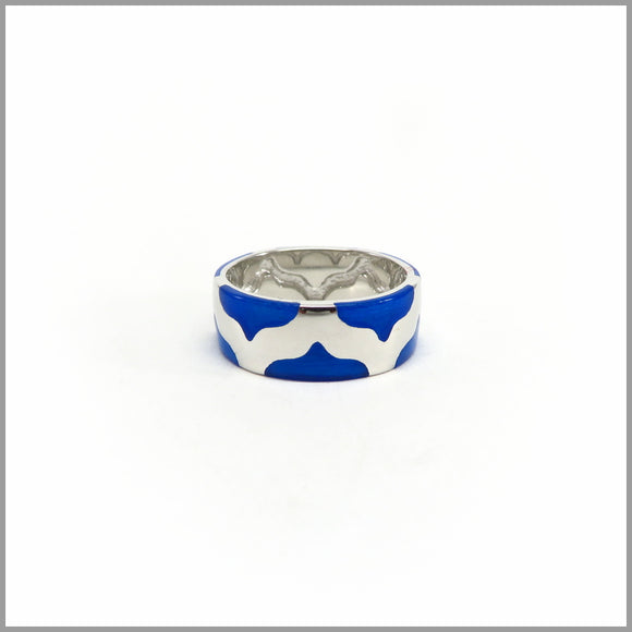 FM21.76 Blue Enamel Pattern Ring