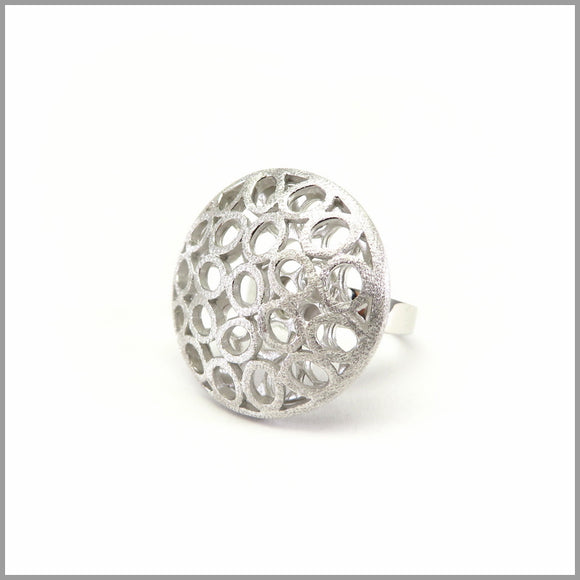 FM21.77 Round Honey Comb Silver Ring