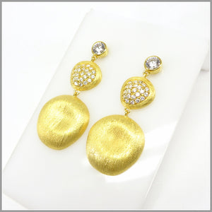 FM21.79 Cubic Zirconia & Gold Petal Chandelier Earrings