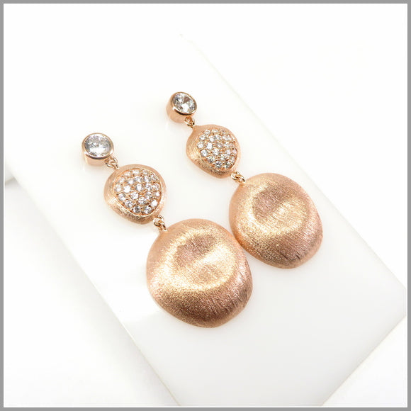 FM21.80 Cubic Zirconia & Rose Gold Petal Chandelier Earrings