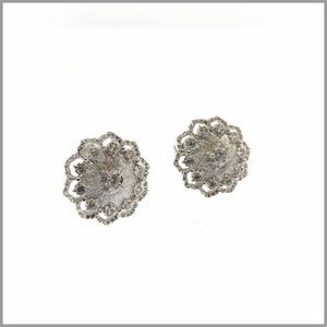 FM23.28 Russian Flower Silver Stud Earrings