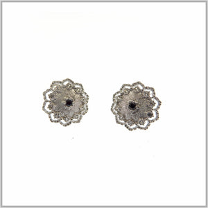 FM23.29 Russian Flower Silver & Black Stud Earrings