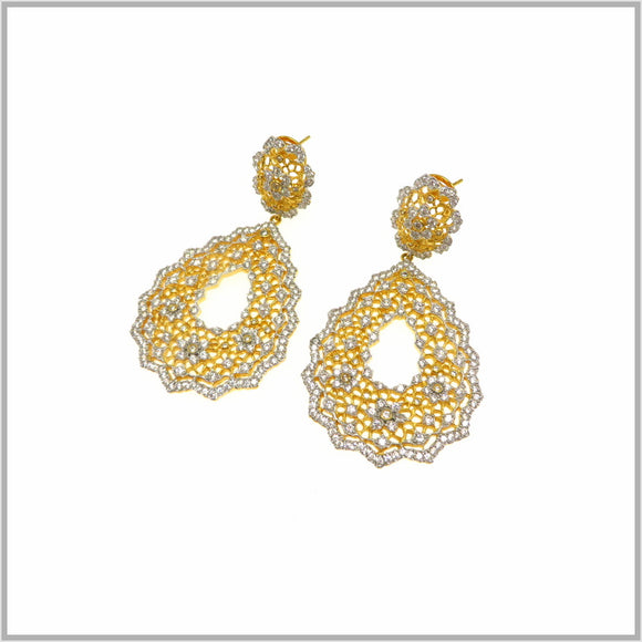 FM23.36 Gold & Silver Plated Lace Cubic Zirconia Earrings