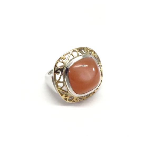 GJ3.17 Baroque Orange Moonstone Ring