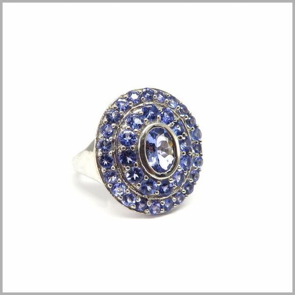 GJ4.14 Tanzanite Shield Silver Ring