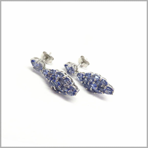 GJ5.19 Tanzanite Cluster Chandelier Earrings