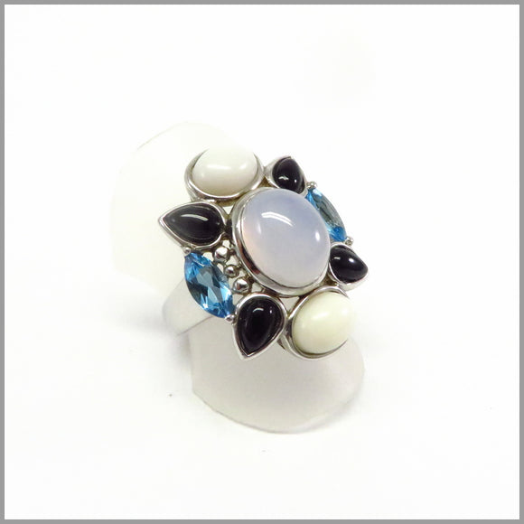HG11.41 Chalcedony, Opal, Agate & Topaz Floral Ring