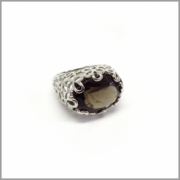 HG28.2 Floral Smokey Quartz Ring