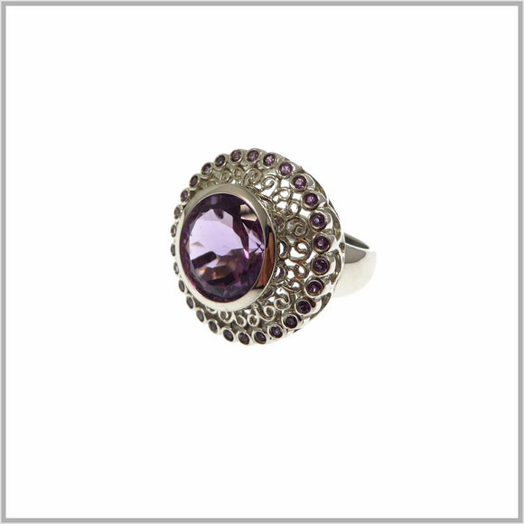 HG19.35 Ornate Amethyst Ring