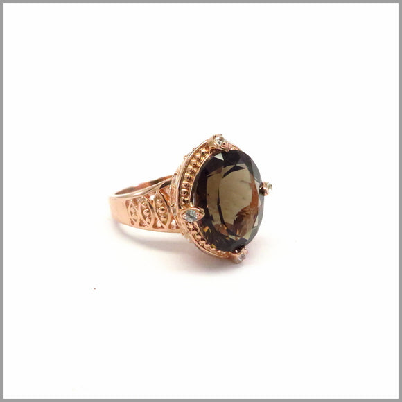 HG21.32 Vintage Smokey Quartz & Rose Gold Ring
