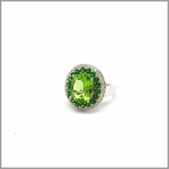 HG21.38 Peridot & Chrome Diopside Ring