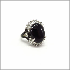 HG21.74 Black Jade & White Topaz, Silver Ring