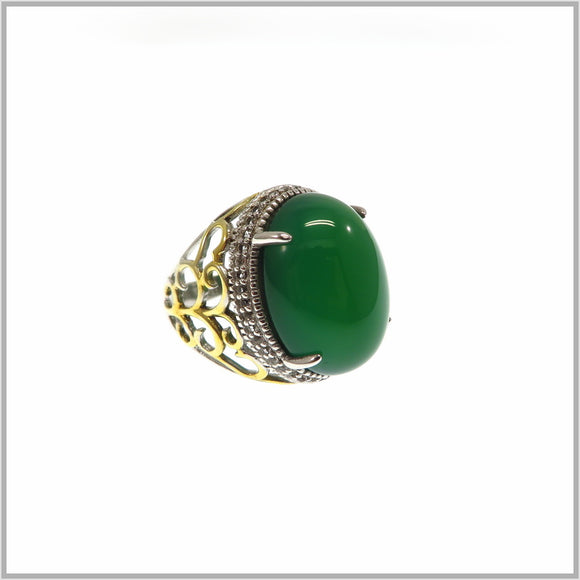 HG26.18 Green Agate & Cubic Zirconia Ring