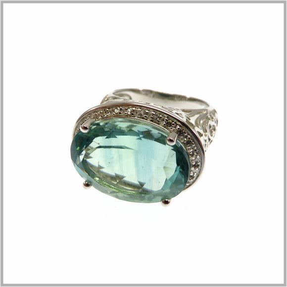 HG26.5 Green Fluorite Sterling Silver Ring