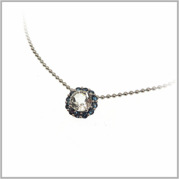 HG26.61 Rock Crystal & Blue Topaz Pendant