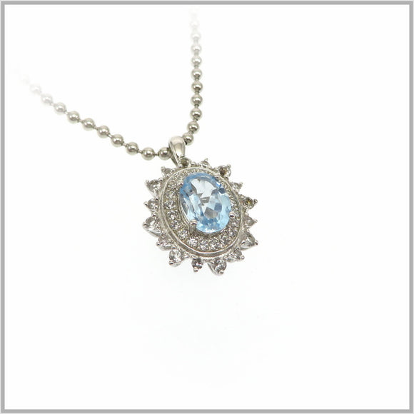 HG29.298 Regal Aquamarine & White Topaz Pendant