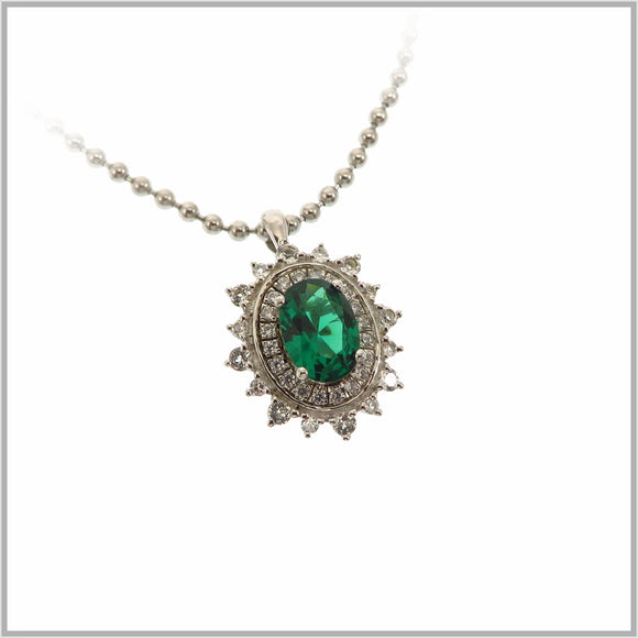 HG29.320 Regal Green Cubic Zirconia & White Topaz Pendant