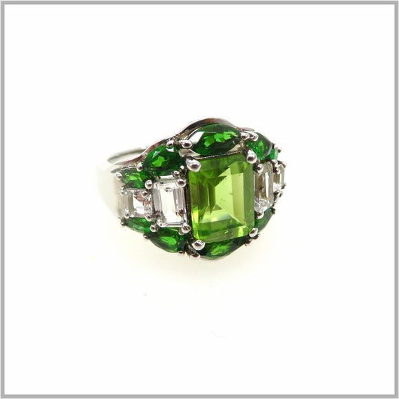 HG29.63 Regal Peridot & Chrome Diopside Ring