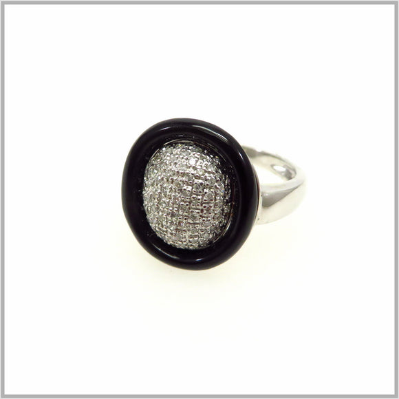 HG29.67 Black Onyx & Cubic Zirconia Ring