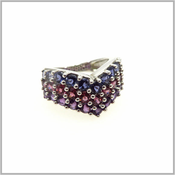 HG29.82 Rainbow Gemstone Arrow Ring