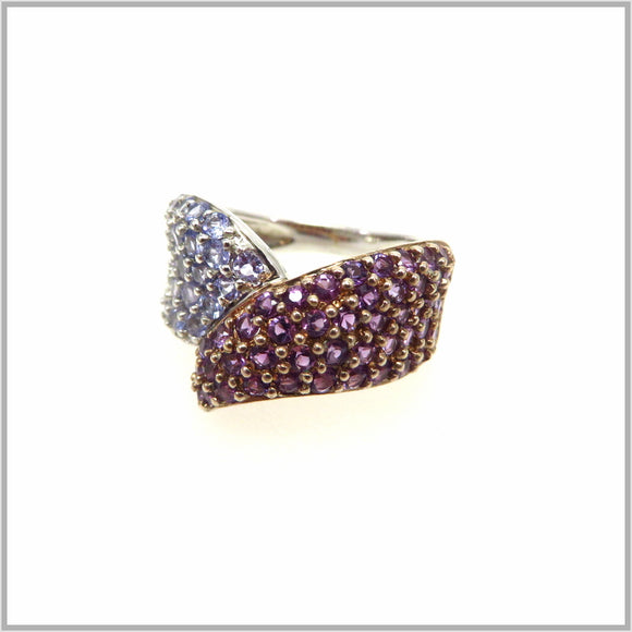 HG29.85 Amethyst & Tanzanite Fold Over Ring
