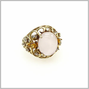 HG29.86 Vintage Rose Quartz, White Topaz & Citrine Ring