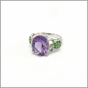 HG23.3 Turtle Amethyst & Chrome Diopside Ring