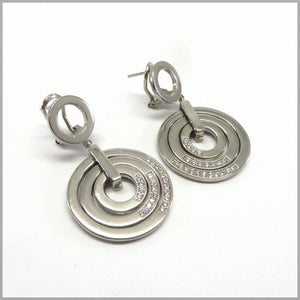 LG17.10 Silver Circles & Cubic Zirconia Earrings