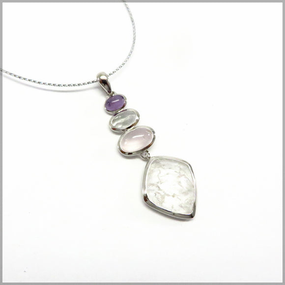 LG19.138 Amethyst, Cracked Crystal & Rose Quartz Pendant