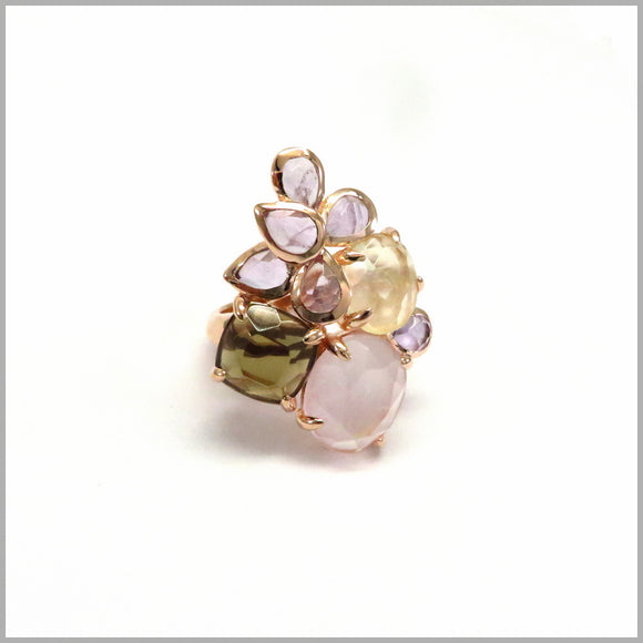 LG19.68 Amethyst, Rose, Lemon & Smokey Quartz Ring