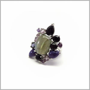 LG19.70 Labradorite, Charoite, Black Spinel & Amethyst Silver Ring