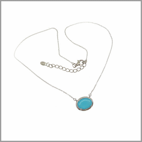 LG21.31 Blue Crystal Silver Necklace