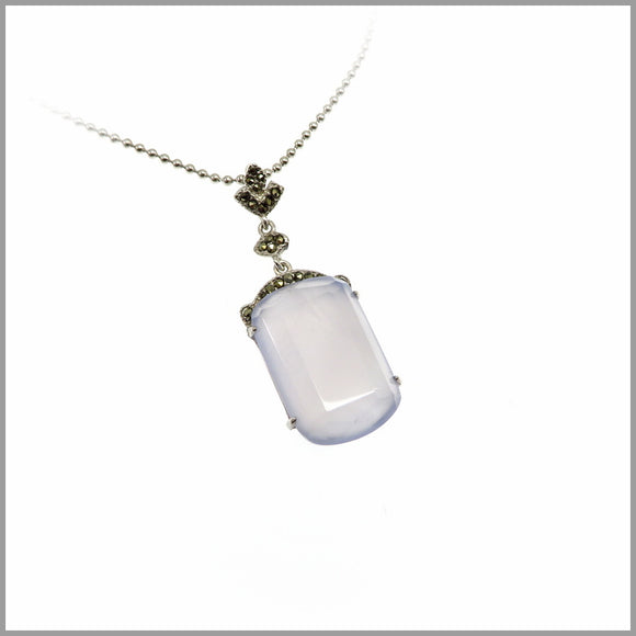 LG21.38 Blue Chalcedony Silver Pendant