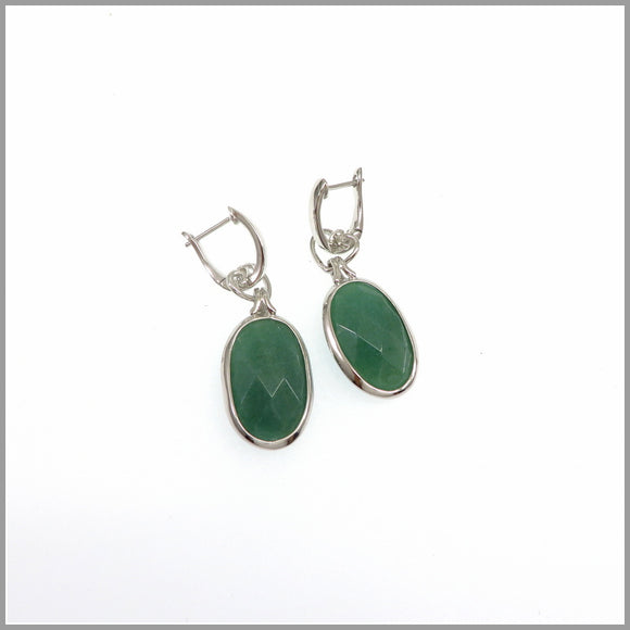 LG21.50 Aventurine Drop Silver Earrings