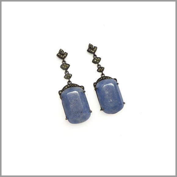 LG21.63 Baroque Blue Quartz & Black Silver Earrings
