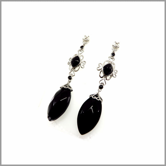 LG21.61 Vintage Black Onyx Earrings