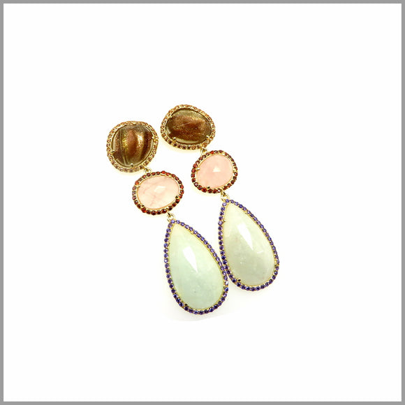 LG21.79 Rutilated Quartz, Rose Quartz & Aquamarine Chandelier Earrings
