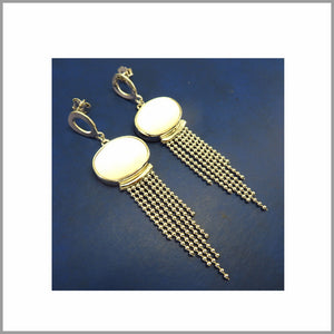 LG21.86 White Onyx Silver Earrings
