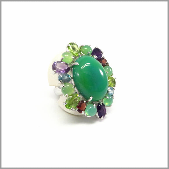 LUJ1.1 Green Peacock Gemstone Ring
