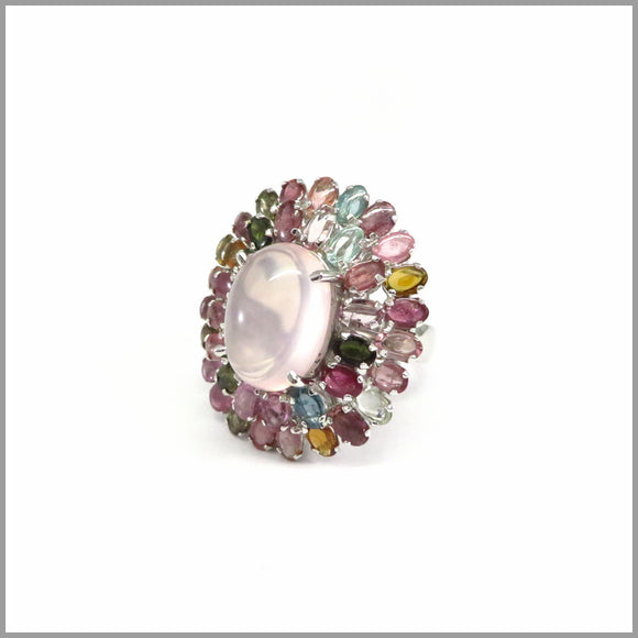 MPG3.5 Flower Rose Quartz & Tourmaline Ring