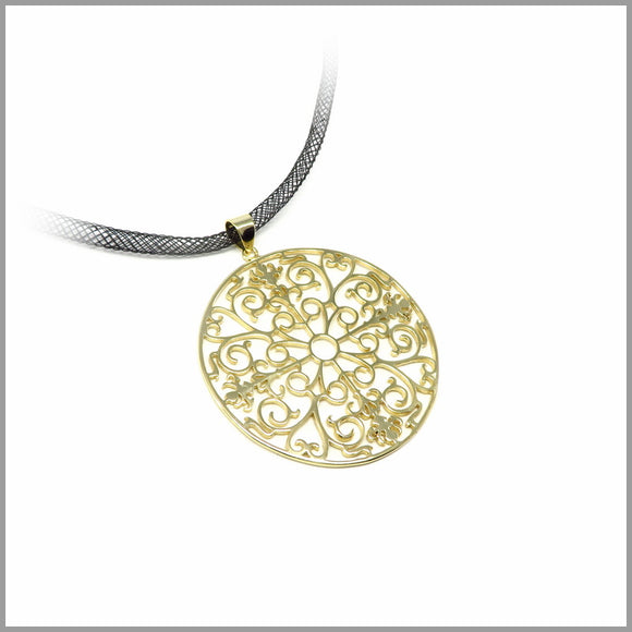 PS5.5 Intricate Gold Plated Sterling Silver Floral Pendant