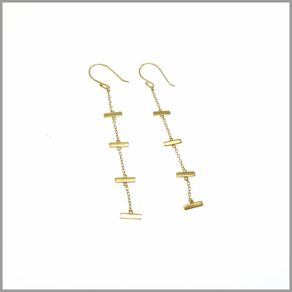 PS6.20 Gold Plated Sterling Silver Bar Earrings