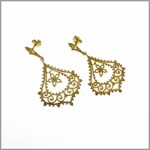 PS6.23 Floral Gold Chandelier Earrings