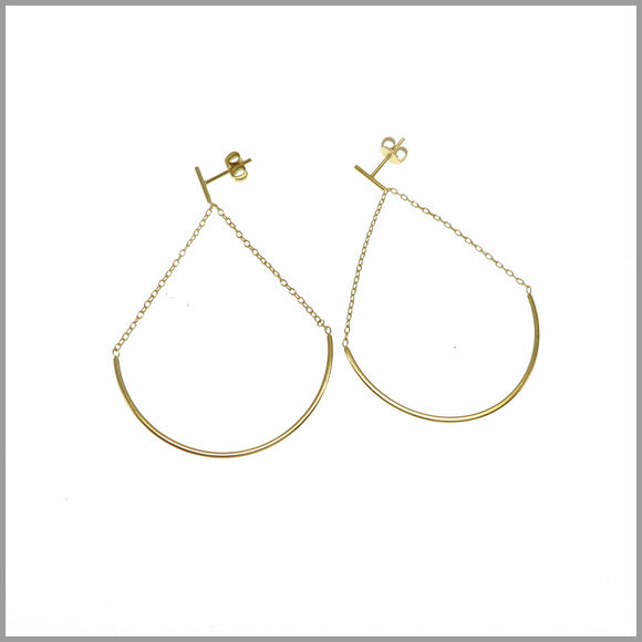 PS6.73 Gold Plated Sterling Silver Teardrop Chandelier Earrings