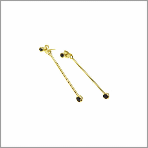 PS7.20 Black & Gold Drop Stud Earrings