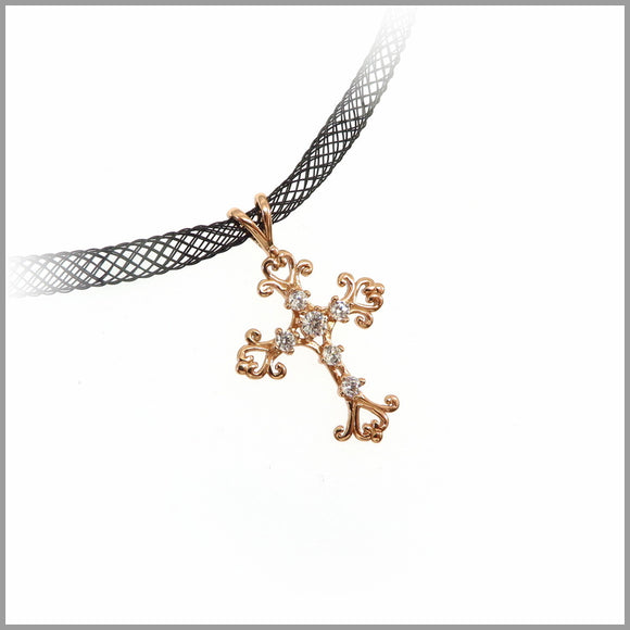 PS7.56 Vintage Rose Gold Cross Pendant