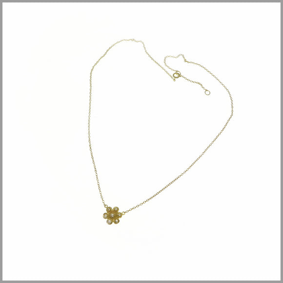 PS8.16 Gold & Cubic Zirconia Flower Necklace