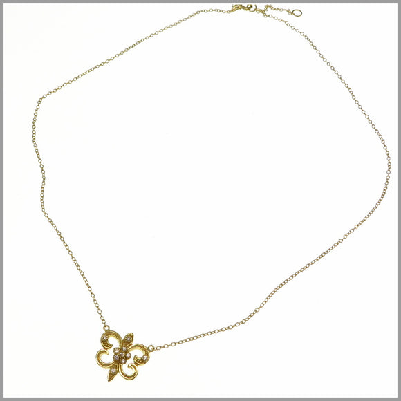 PS8.19 Gold Fleur de Lis & Cubic Zirconia Necklace